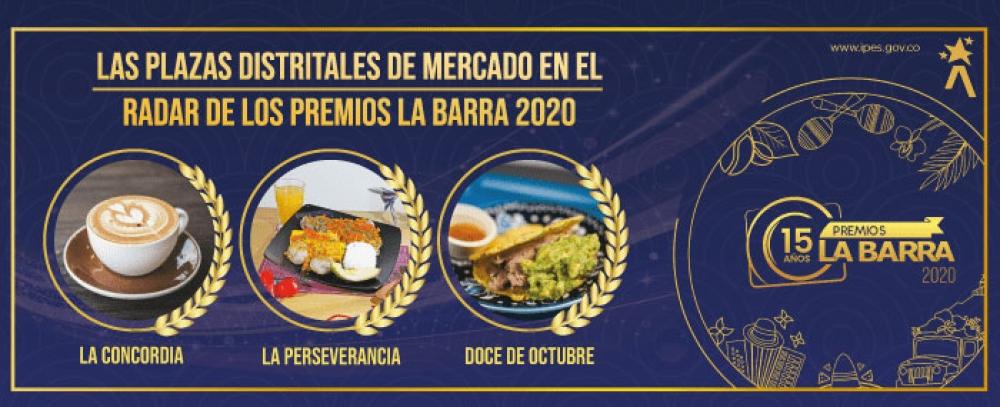 Tres Plazas Distritales de Mercado pre nominadas a los Premios La Barra 2020